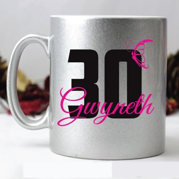 Image of 30th Birthday Personalised Coffee Mug - Silver{empty_space}
