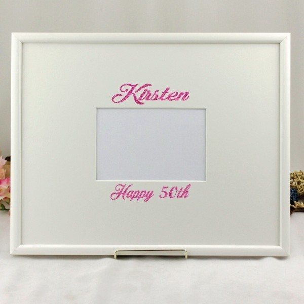 Image of 50th Birthday Vinyl Glitter Signature Frame{empty_space}