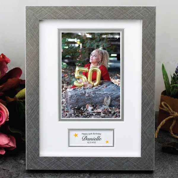 Image of 50th Birthday Photo Frame with Message{empty_space}