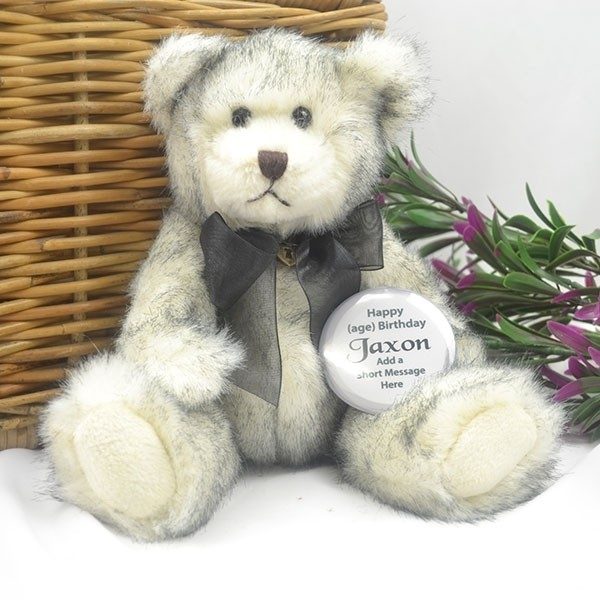 Image of 80th Birthday Bear with Badge - Eclair{empty_space}