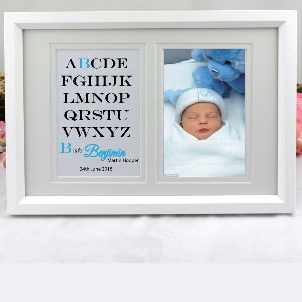 Image of Personalised Baby Boy Typography Frame{empty_space}