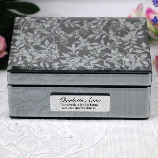 Image of Personalised Mirrored Jewelry Box- Butterfly{empty_space}