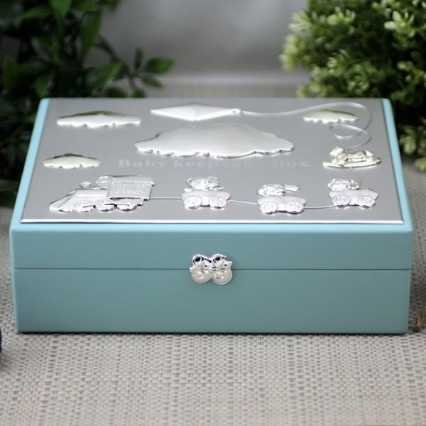 Image of Baby Boy Blue Wood Keepsake Box Gift{empty_space}