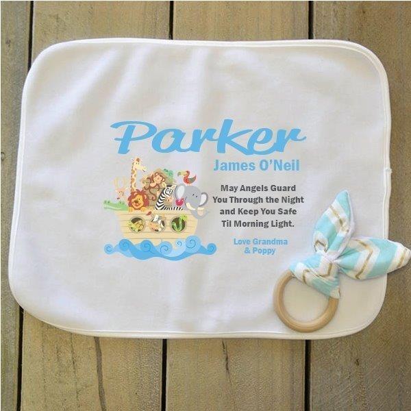 Image of Baby Snuggle Blanket & Teether - Noahs Ark{empty_space}