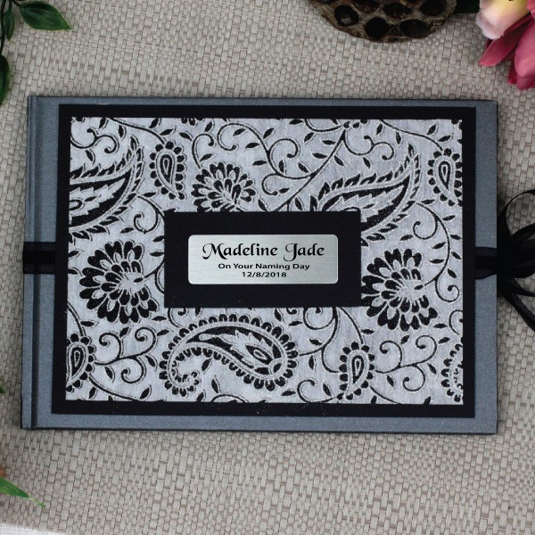 Image of Personalised Naming Day Guest Book- Baroque Sparkle{empty_space}
