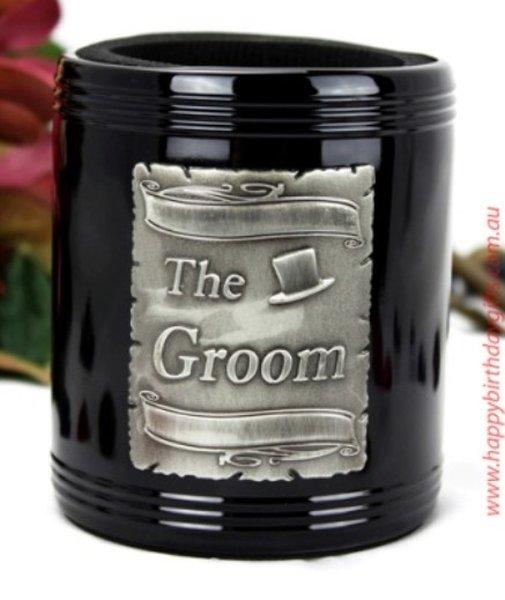 Image of Groom Black aluminium Can Cooler{empty_space}