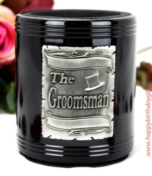 Image of Groomsman Black Can Cooler{empty_space}