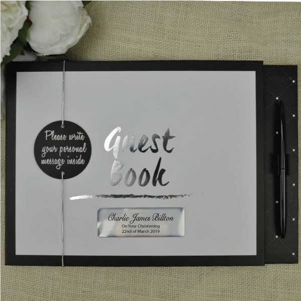 Image of Black & White Christening Day Guest Book{empty_space}