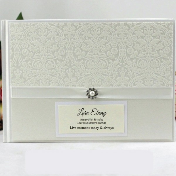 Image of 50th Birthday Guest Book Memory Album - Pearl{empty_space}
