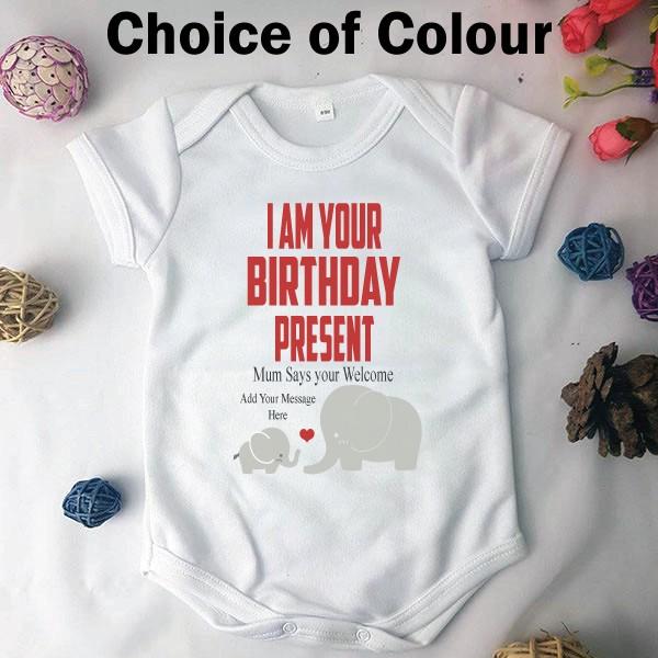 Image of Personalised Birthday Present Baby Bodysuit{empty_space}