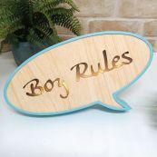 Boy Rules Rustic LED Convo Bubble