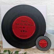 Dad Replica Vinyl Record LED Wall Hanging & Coaster - Bad To Bone