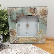 Coach Glass Desk Clock - Vintage Gold