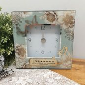 Mum Glass Desk Clock - Vintage Gold