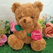Personalised Bear with Pink Rose & Badge