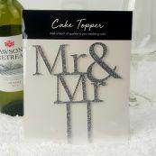 Mr & Mr Glitter Wedding Cake Topper