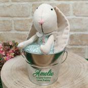 Personalised Ballerina Easter Bunny in Silver Bucket - Green