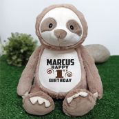 Personalised Birthday Sloth Cubbie Plush