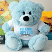 Love You Naughty Valentines Bear - Light Blue