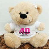 40th Teddy Bear Cream Personalised Plush