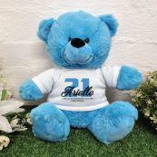 21st Birthday Bear Bright Blue Plush 30cm