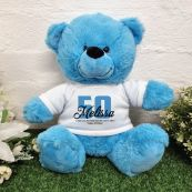 50th Birthday Bear Bright Blue Plush 30cm