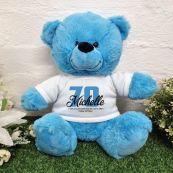 70th Birthday Bear Bright Blue Plush 30cm