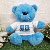 90th Birthday Bear Bright Blue Plush 30cm