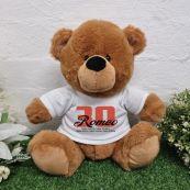 Personalised 30th Birthday Bear Brown Plush 30cm