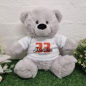Personalised Birthday Bear Grey Plush 30cm