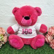 100th Birthday Bear Hot Pink Plush 30cm