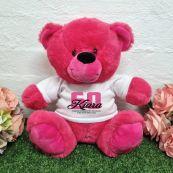 60th Birthday Bear Hot Pink Plush 30cm