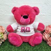 80th Birthday Bear Hot Pink Plush 30cm