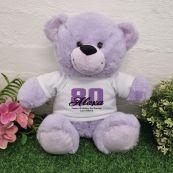 80th Birthday Personalised Birthday Bear 30cm