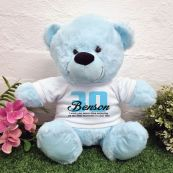 30th Birthday Bear Light Blue Plush 30cm