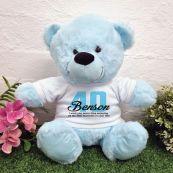 40th Birthday Bear Light Blue Plush 30cm