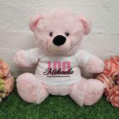 100th Birthday Bear Light Pink Plush 30cm