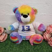 Personalised 13th Birthday Bear Rainbow Plush 30cm