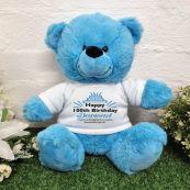 100th Birthday party Bear Bright Blue Plush 30cm