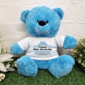 80th Birthday party Bear Bright Blue Plush 30cm