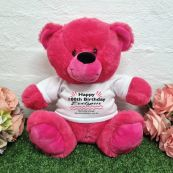 Personalised 100th Birthday Party Bear Hot Pink Plush 30cm