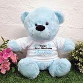 100th Birthday party Bear Light Blue Plush 30cm