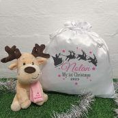 1st Christmas Girl Reindeer & Christmas Sack