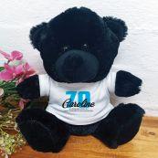 70th Birthday Teddy Bear Black Plush