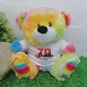 70th Teddy Bear Rainbow Personalised Plush