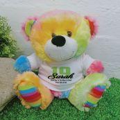 Birthday Bear Rainbow Personalised Plush