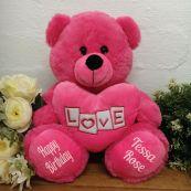 Birthday Bear With Pink Heart 30cm