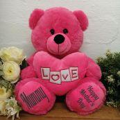 Mum Bear With Pink Heart 30cm