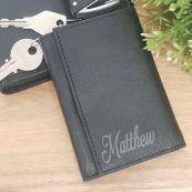 Personalised Engraved Leather Key & RFID Card Holder