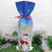 Teacher Christmas Wine Bottle Cover - Snowman